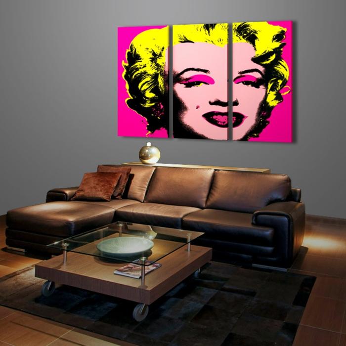 tableau-pop-art-merilyn-monroe-et-belau-sofa-en-cuir