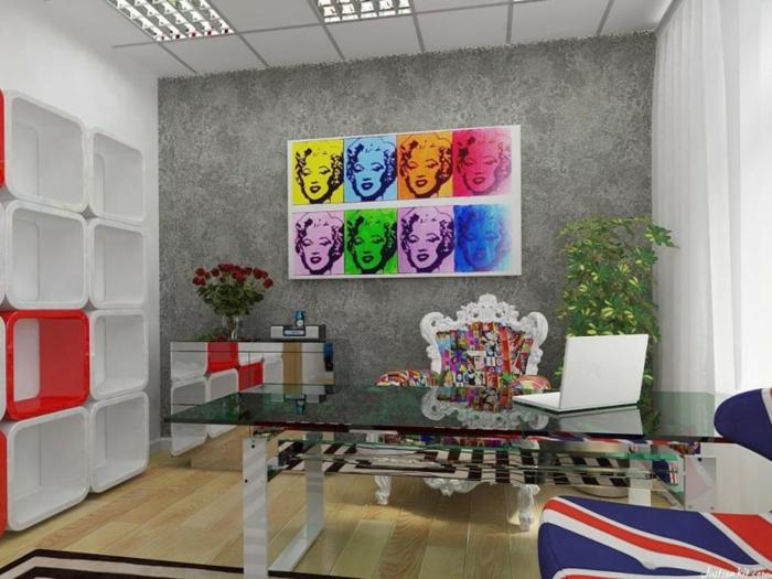 tableau-pop-art-merilyn-monroe-mur-gris-et-table-fantastique