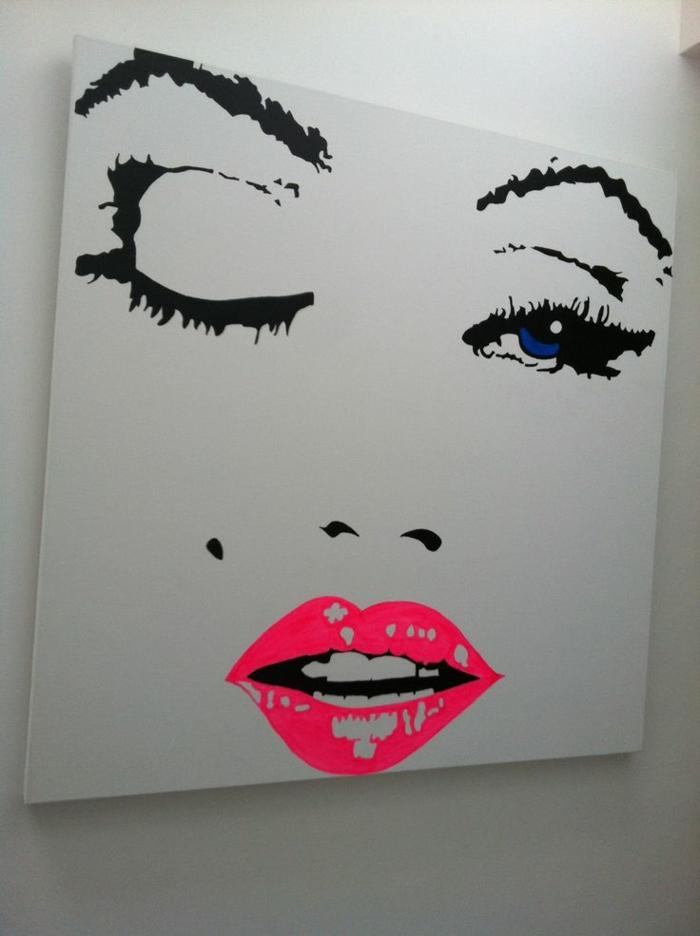tableau-pop-art-merilyn-monroe-en-couleur-blanche