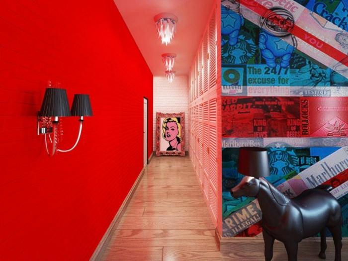 tableau-pop-art-peinture-murale-rouge-couloir