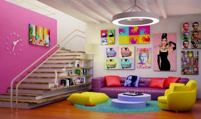 tableau-pop-art-plusieurs-tableaux-pop-art-et-intérieur-ludique