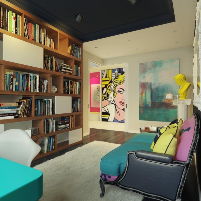 tableau-pop-art-pop-art-tableau-et-bibliothèque-en-bois
