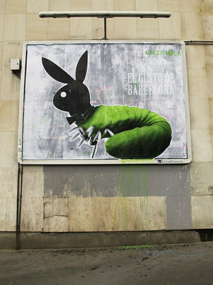 tableau-street-art-de-Ludo-france-paris-playboy-green-issue