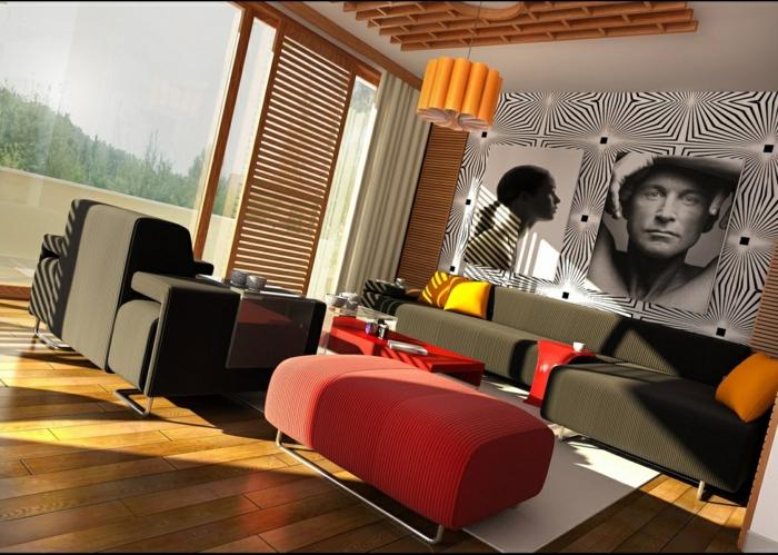 tabouret-de-couleur-carmin-rouge-pourpre-sol-en-parquet-massif-décoration-murale