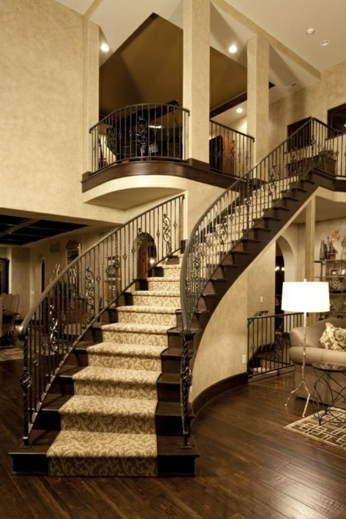 tapis-d-escalier-design-baroque-style-retro-chic-maison-en-bois-massif-parquet-foncé