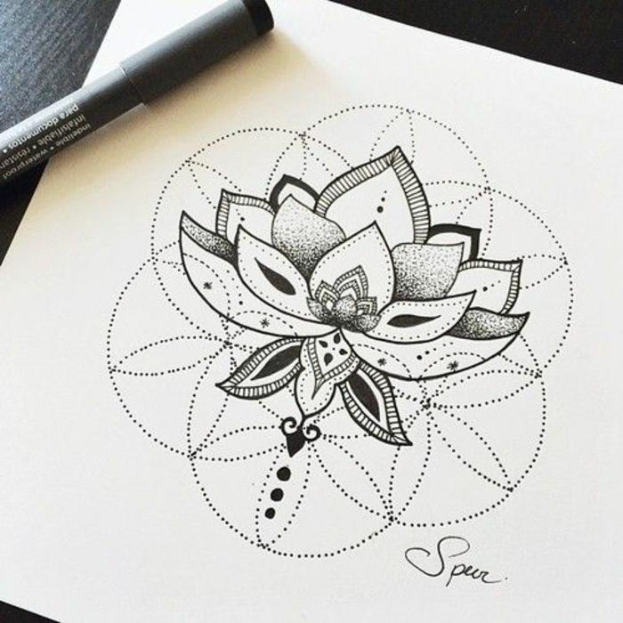 tatouage,geometrique,tattoo,signification,tatouage,en,ligne,lotus