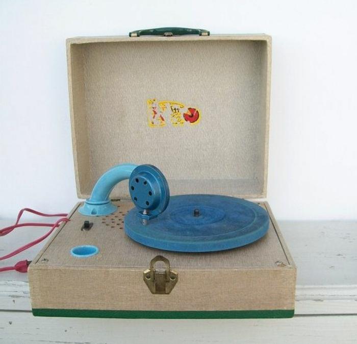 tourne-disque-vintage-plateau-bleu-bras-original
