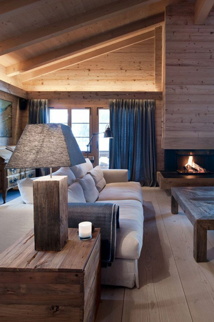 interieur chalet bois perfect sejour chalet bois poteau bois canape divan interieur with. Black Bedroom Furniture Sets. Home Design Ideas