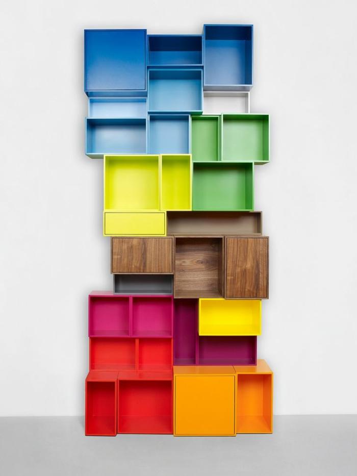 étagère-cube-étagère-cubes-multicolores
