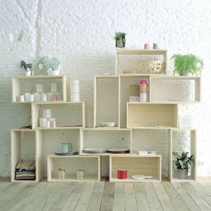 étagère-cube-étagères-faites-de-boîtes-en-bois