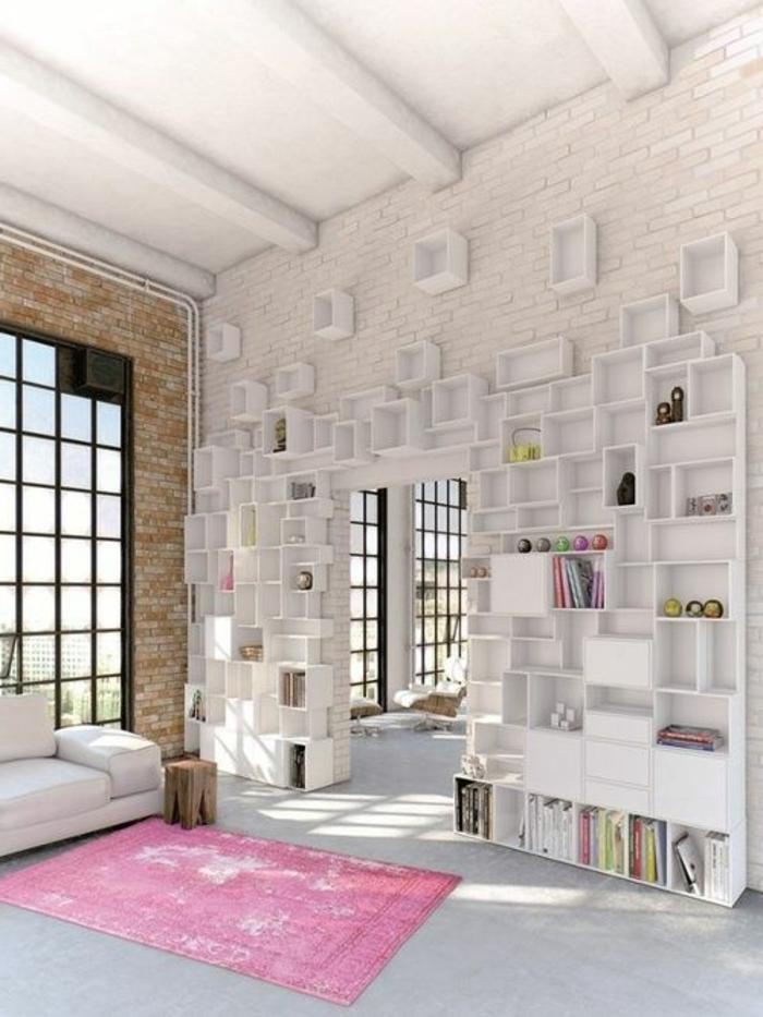 étagère-cube-murale-mur-en-briques