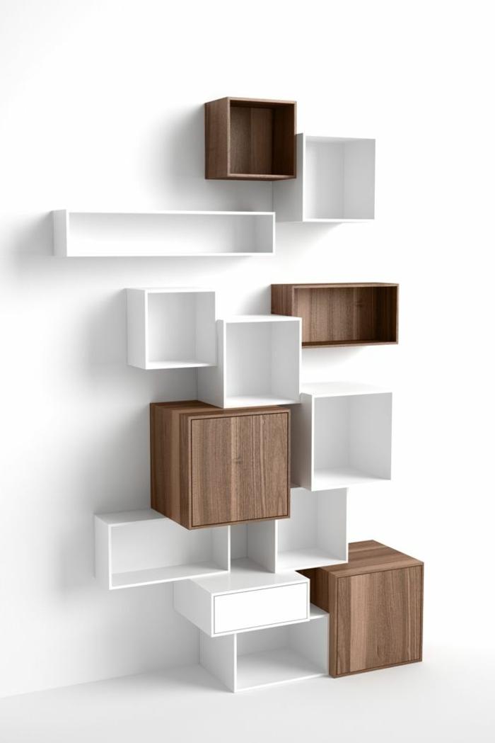 étagère cube, ensemble détagères en bois et blanc
