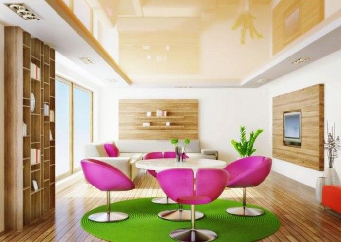 0-suspente-faux-plafond-tapis-rond-vert-chaises-roses-parquette-en-bois-clair-meubles-clairs-d-intérieur