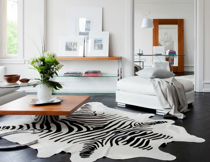 Tapis zebre deco for Decoration de salon pas cher