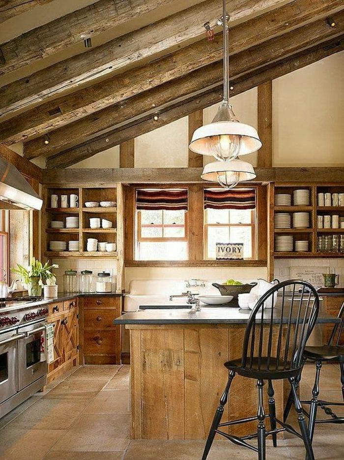 1-amenager-comble-salle-de-séjour-moderne-meubles-en-bois-clair-plante-verte-bar-en-bois