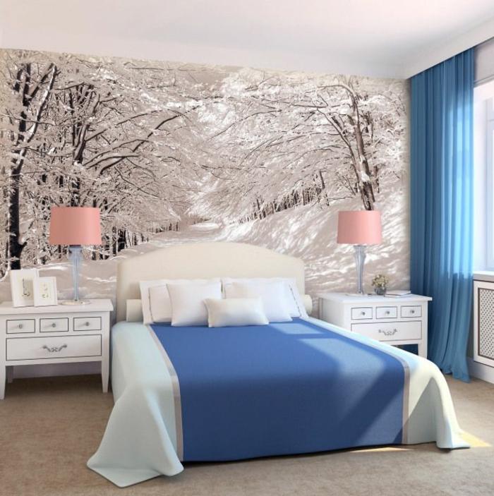 1-chambre-à-coucher-avec-murs-en-papier-peint-intissé-linge-de-lit-bleu-photo-d-hiver