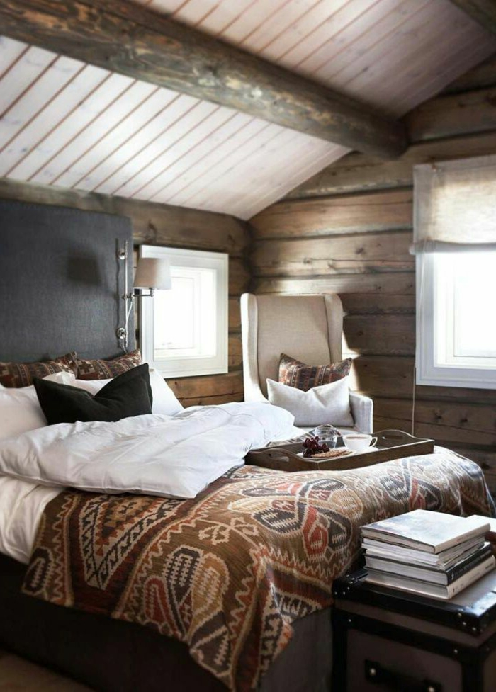 1-chambre-à-coucher-sous-pente-linge-de-lit-couverture-de-lit-marron-mur-en-planchers