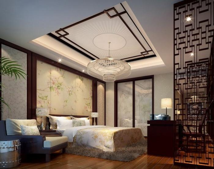 1-faire-un-faux-plafond-dans-la-chambre-à-coucher-avec-parquette-plante-verte-lustre-moderne