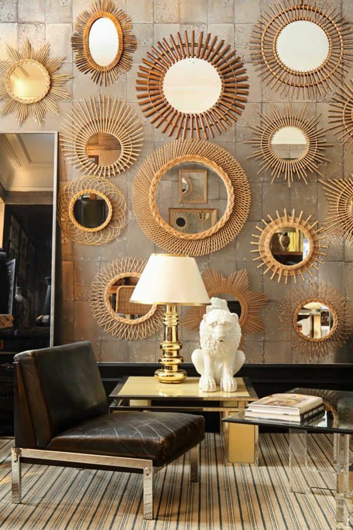 Le miroir d coratif en 50 photos magnifiques for Miroir mural soleil