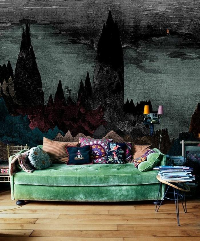 1-papier-peint-intissé-castorama-canapé-vert-dans-le-salon-moderne-poser-du-papier-peint-intissé