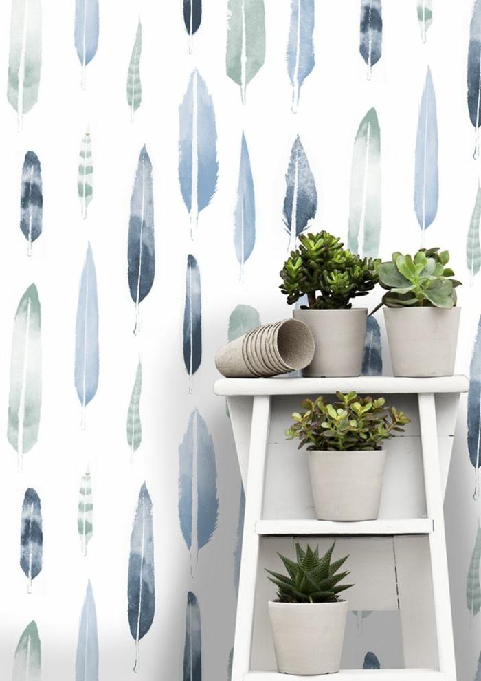 1-papier-peint-intissé-castorama-plantes-vertes-décoration-avec-papier-peint-intissé-blanc-avec-plumes-poser-du-papier-peint-intissé
