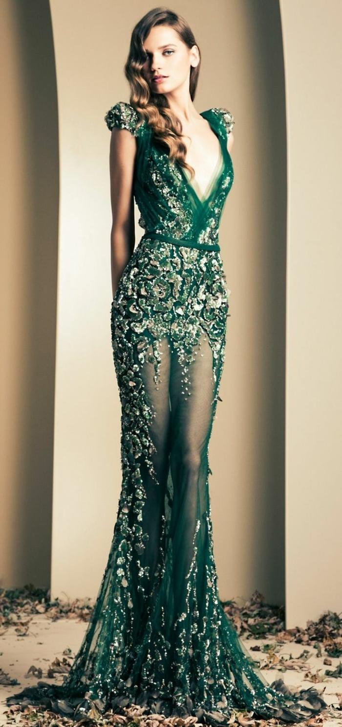 1-robe-fluide-habillée-de-couleur-verte-avec-cailloux-mode-tendance