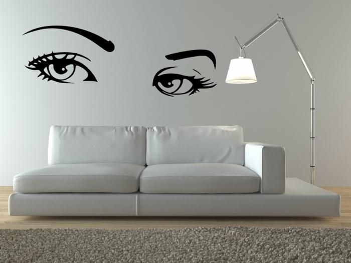 archzine.fr/wp-content/uploads/2015/08/1-stickers-muraux-en-forme-de-visage-femme-canapé-gris-tapis-gris-salon-moderne