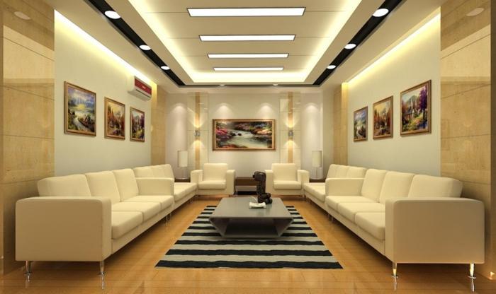1-tapis-à-rayures-noir-gris-canapé-blanc-peintures-murales-petite-table-basse-de-salon