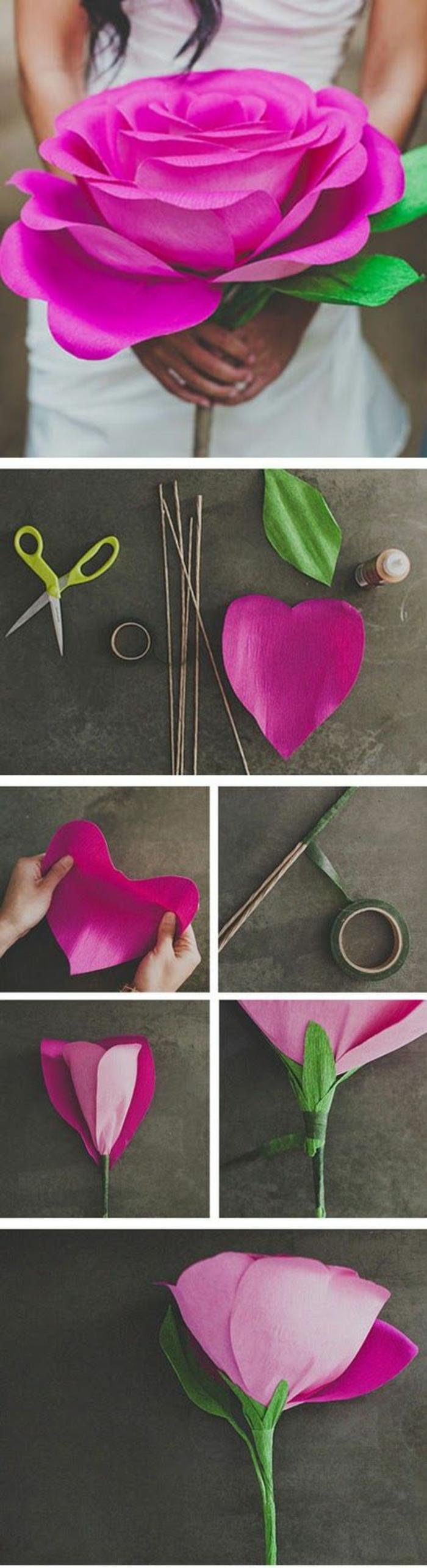 DIY-fleurs-papier-crepon-bouquet-de-mariée-le-grand-fleur-rose-du-mariage