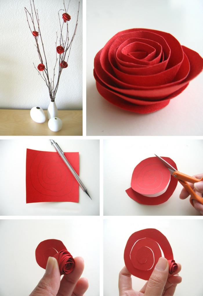 DIY-fleurs-papier-crepon-bouquet-de-mariée-roses-rouges-arbre-vase