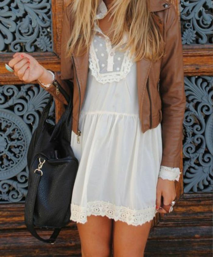 La-robe-blanche-dentelle-robe-de-soirée-dentelle-jolie-femme-veste-cuir