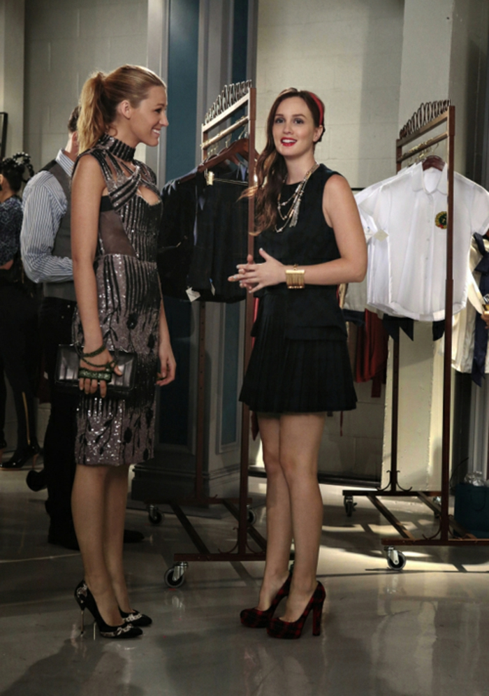 """GOSSIP GIRL-- """"Save the Last Chance""""-- image GO607A_0081 Pictured (L-R): Blake Lively as Serena Van Der Woodsen and Leighton Meester as Blair Waldorf  - Photo: Giovanni Rufino/The CW -- © 2012 The CW Network.  All Rights Reserved."""