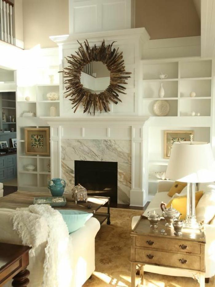alinea-miroir-adhesif-design-pas-cher-comment-décorer-le-salon-cheminée-d-intérieur