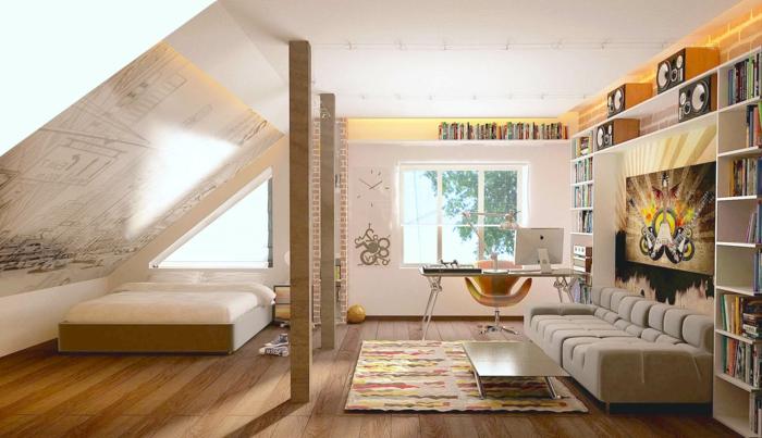 aménagement-de-combles-sous-pente-parquette-en-bois-foncé-sous-pente-meubles-sous-pente