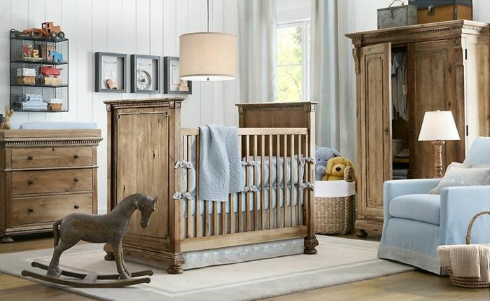 aménagement-petit-espace-avec-le-fauteuil-convertible-lit-styé-rustique-charmante-chambre-bébé