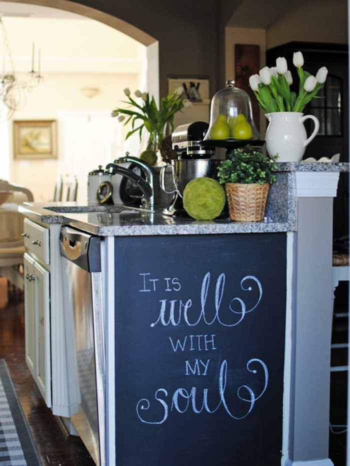 68 id es cr atives avec l 39 ardoise murale. Black Bedroom Furniture Sets. Home Design Ideas