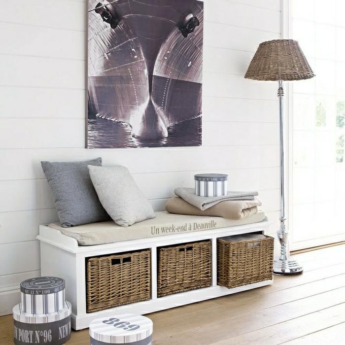 banc-de-rangement-banquette-et-panniers-entrée-minimaliste-et-belle