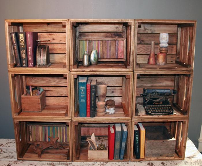 boîte-de-rangement-étagère-de-caisses-en-bois