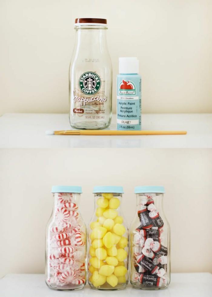 bonbonnière-mariage-dragées-originale-boite-verre-diy-boteille-frappuccino-à-bonbonnière-dragéees