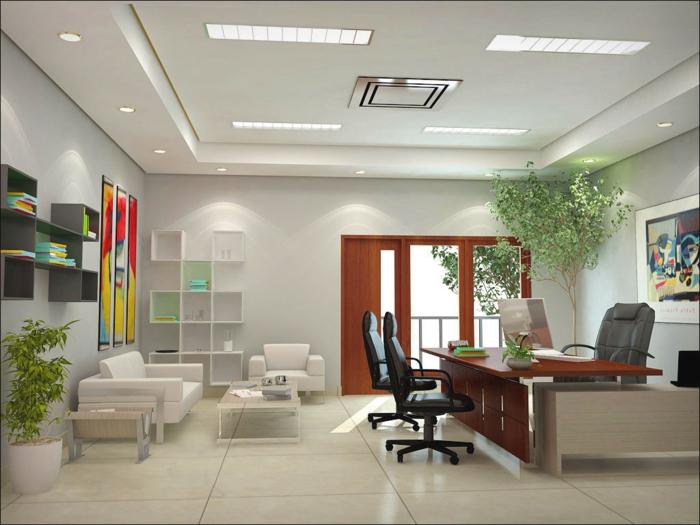 bureau-carrelage-beige-canapé-blanc-plante-verte-petite-table-basse-plante-verte-d-intérieur