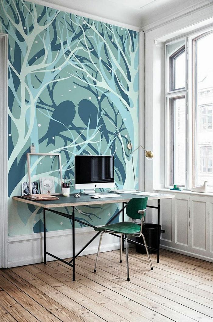 bureau-domicile-sol-en-parquette-clair-chaise-verte-meubles-dans-la-maison-moderne