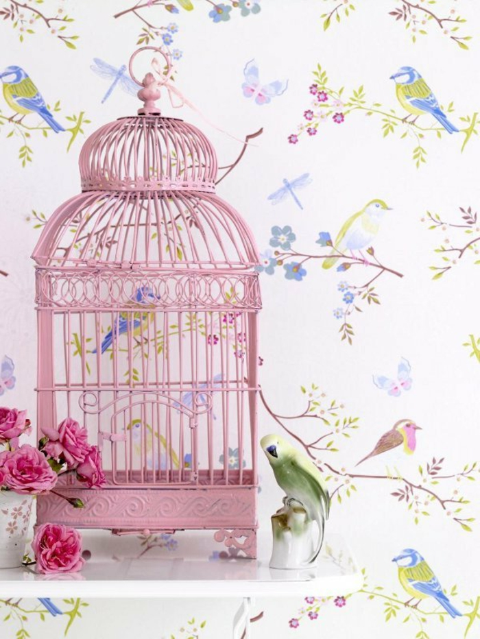Agr able belle decoration d interieur 9 cage oiseaux d corative cage rose d for Belle decoration d interieur