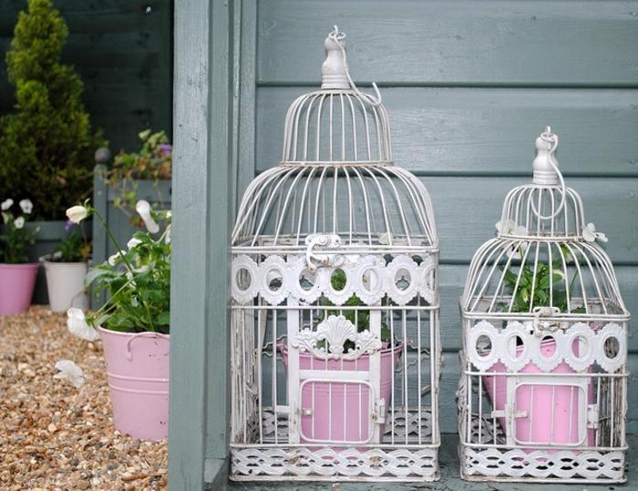 cage-à-oiseaux-décorative-deux-cages-avec-des-pots-de-fleurs