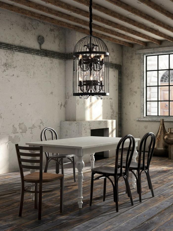 cage-à-oiseaux-décorative-salle-de-déjeuner-vintage-chandelier-cage