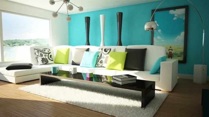 canapé-blanc-tapis-blanc-parquette-en-bois-mur-bleu-salon-moderne-lustre-décoratif