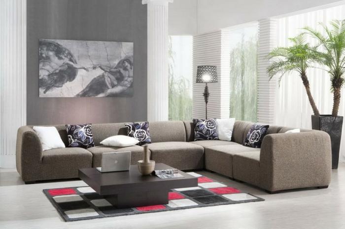 canapé-marron-tapis-coloré-salon-moderne-table-basse-en-bois-foncé-meubles-d-intérieur
