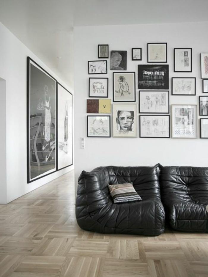 canapé-togo-jolis-canapés-noir-en-cuir-plusieurs-peintures