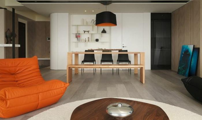 canapé-togo-orange-intérieur-moderne