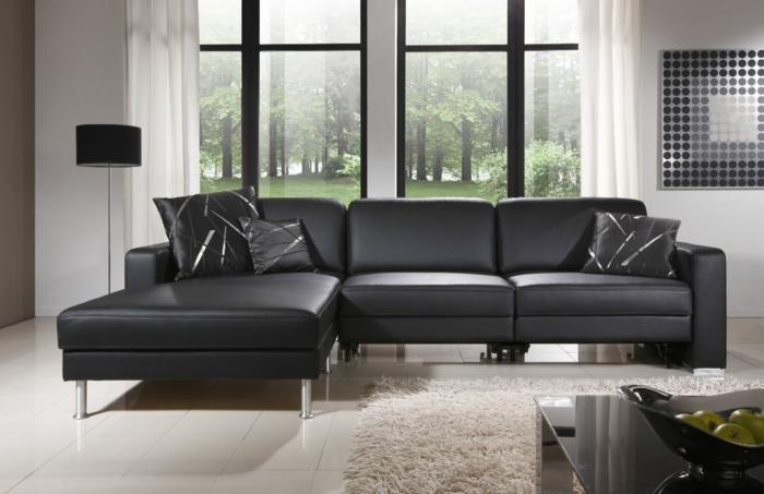 canapés-covertibles-sofa-en-cuir-noir