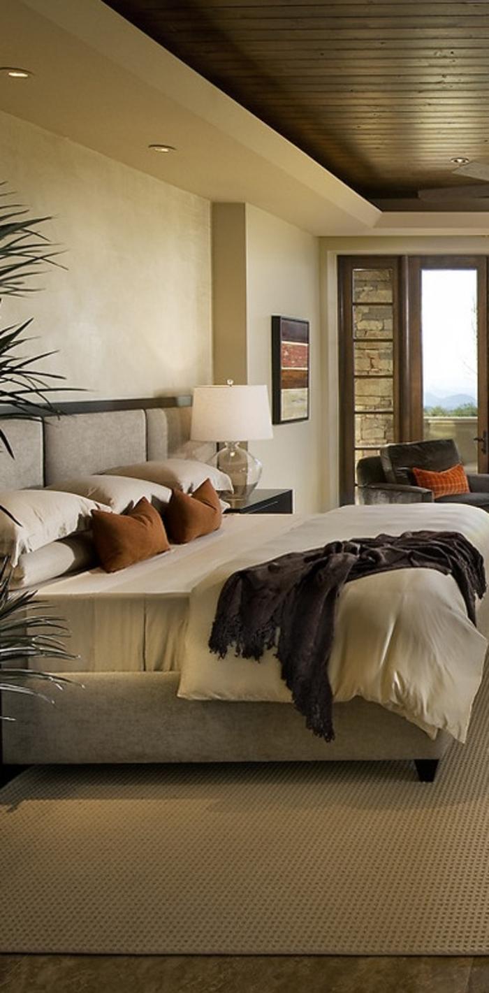 chambre-à-coucher-de-couleur-beige-tapis-beige-couleur-taupe-plante-verte-d-intérieur